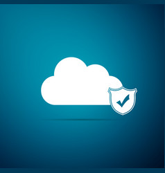 cloud and shield with check mark icon isolated on vector image
