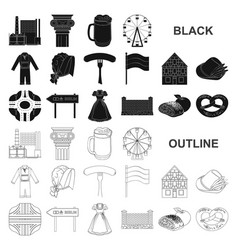 Country germany black icons in set collection for vector