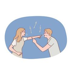 Couple quarrel conflict concept vector