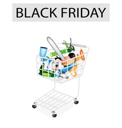 Craft tools in black friday shopping cart vector