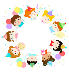 Cute multicultural kids party template vector