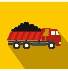 Dump truck flat icon vector
