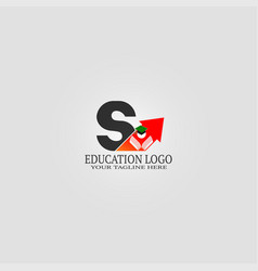 Education logo template with s letter logo vector