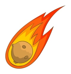 Flame meteorite icon cartoon style vector