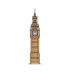 flat big ben icon isolated on white background vector image