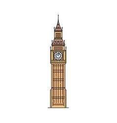 flat big ben icon isolated on white background vector image