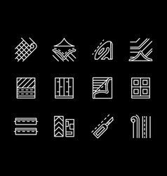 flooring materials white line icons set vector image