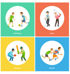 football and golf cricket and rugicons vector image