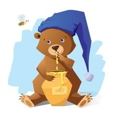 Funny bear with honey vector