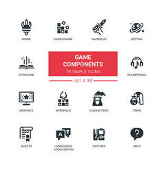 Game components - modern line design vector