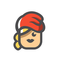 Girl in winter red hat icon cartoon vector