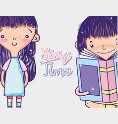 Girls and books vector