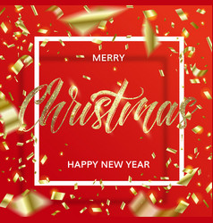 golden christmas text and confetti in square frame vector image