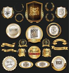 Golden retro labels badges frames and ribbons vector