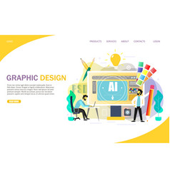 graphic design landing page website vector image
