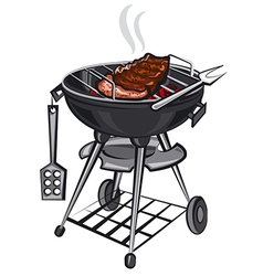 Grill with meat vector