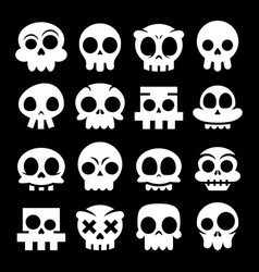 Halloween cartoon skull icons mexican vector