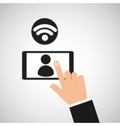 Hand touch smartphone person wifi icon vector