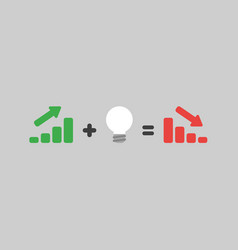 Icon concept of green sales bar graph moving up vector