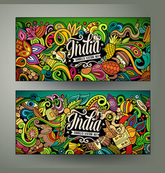 india hand drawn doodle banners set cartoon vector image