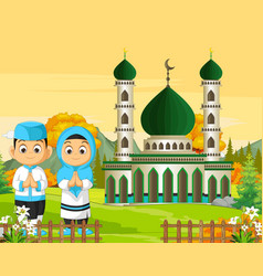 Islamic mosque with kids in autumn forest vector