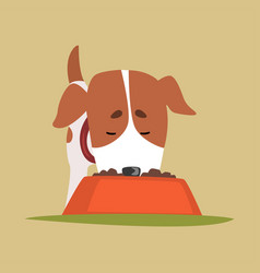 jack russell puppy character eating dog food cute vector image
