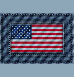 jeans frame with flag of usa vector image