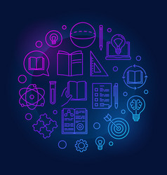knowledge colored round outline vector image