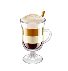 Latte layered coffee drink isolated vector image