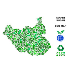leaf green mosaic south sudan map vector image