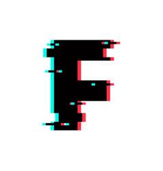 logo letter f glitch distortion vector image
