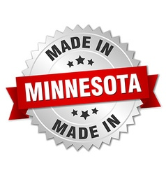 Made in Minnesota silver badge with red ribbon vector