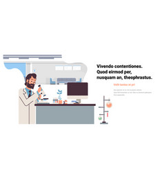 male scientist working with microscope in vector image