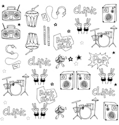 Many music tool doodles on white backgrounds vector