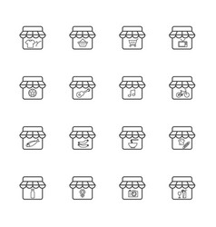 Market and shop icon set vector