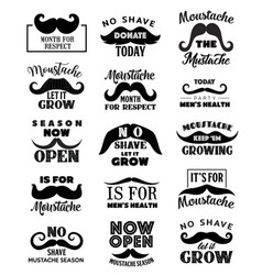 movember men health mustaches lettering icons vector image