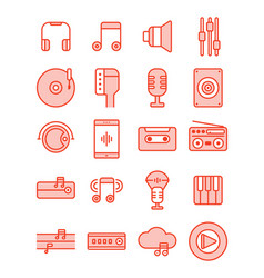 Music and accessories icon set filled line style vector