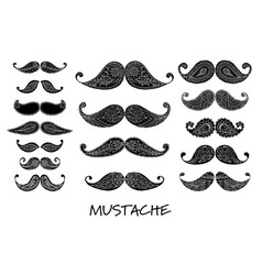 Mustache collection ornate sketch for your design vector