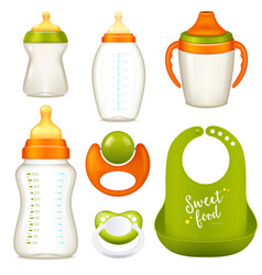 Nurser baby bottles collection vector