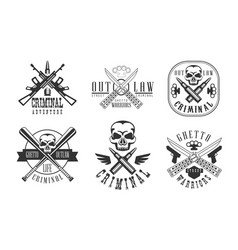 outlaw street criminal retro labels set ghetto vector image