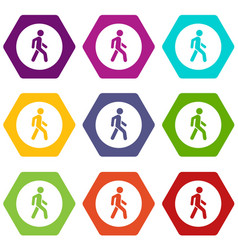 Pedestrians only road sign icon set color vector