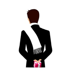 Rear view of man holding gift box vector