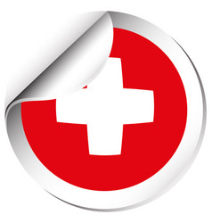 Round sticker design for flag of switzerland vector