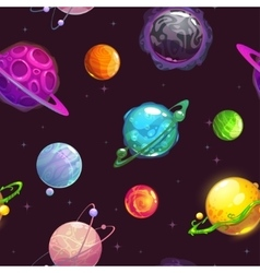 Seamless pattern with fantasy cartoon planets vector image