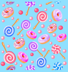 seamless sweet fruit donuts candy vector image