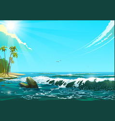 seascape in sunny day of sea vector image