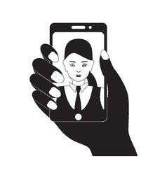 Selfie photo on mobile device Black silhouette vector