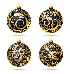 Set of Black and gold Christmas balls vector