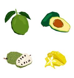 Set of geometric fruits vector