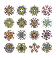 Set of ornate mandala symbols Mehndi lace tattoo vector